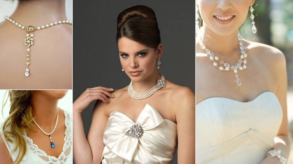 White wedding dress with gold detail jewelry