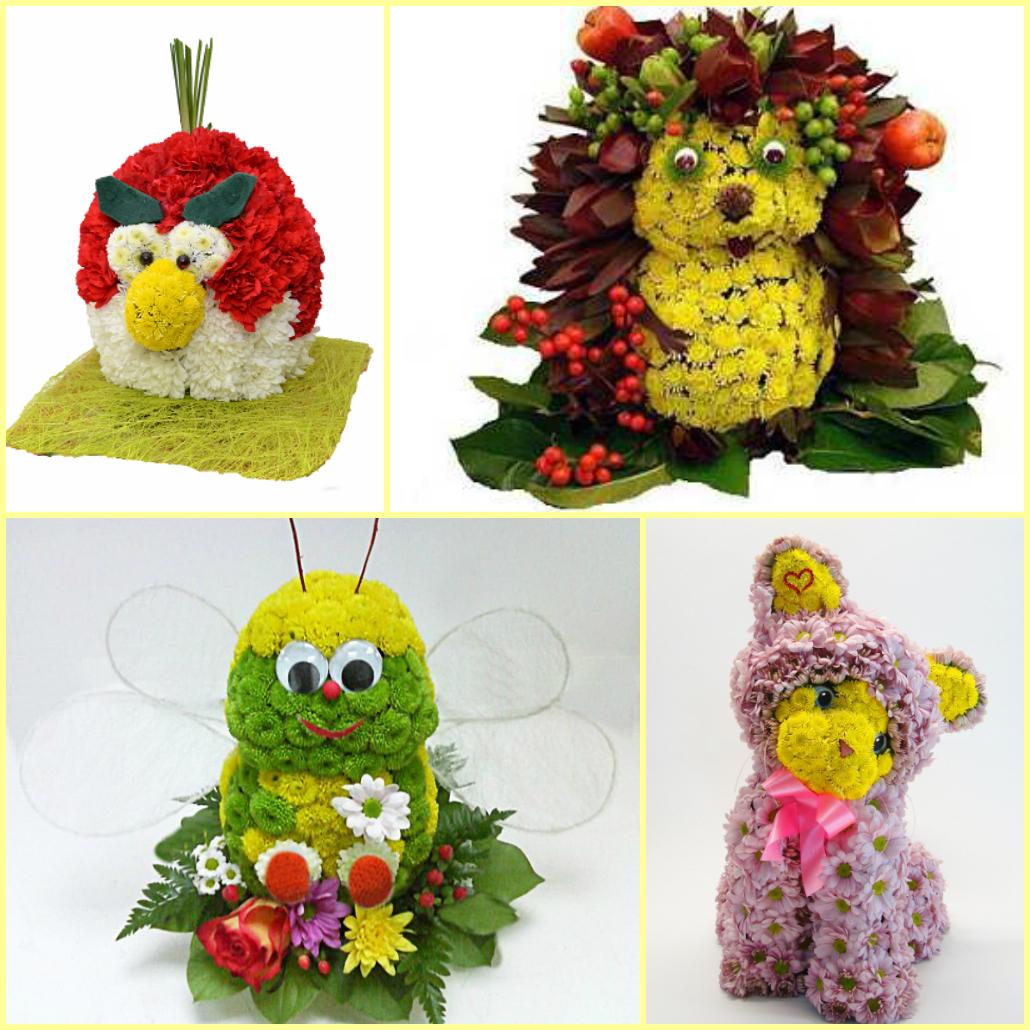 Букеты в виде животных из цветов